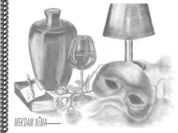 Oil Painting On Canvas - Graphite Still Life